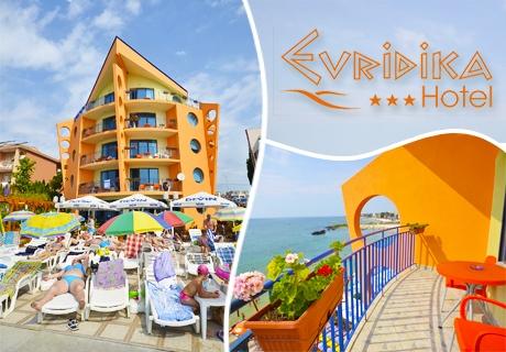 На ПЪРВА линия в Несебър! 3, 5 или 7 нощувки със закуски + посещение на Аквапарк в хотел Евридика