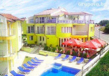 Цяло лято в Созопол на 150м. от плажа! 2, 3 или 4 нощувки за 2-ма,3-ма, 2-ма с 2 деца или 4-ма с 2 деца + басейн, шезлонг и чадър в семеен хотел Морска Вила