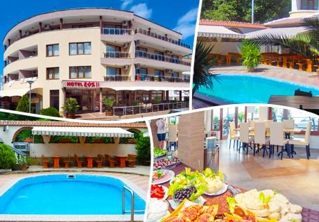 Лято в Китен на ТОП ЦЕНИ с богато меню на блок маса! Нощувка, закуска, обяд и вечеря + напитки и басейн в Хотел ЕОС