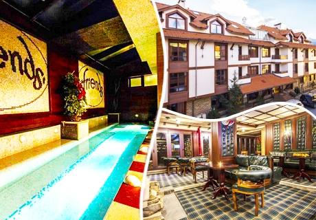 Нощувка на човек със закуска и вечеря + голямо джакузи за 39 лв. в хотел Френдс, Банско