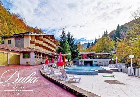Нощувка на човек със закуска + горещ минерален басейн и сауна в Хотел Дива, с. Чифлик до Троян