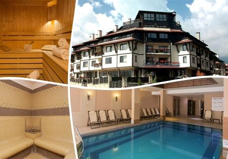 Делник в Банско! Нощувка на човек със закуска, вечеря, напитки + басейн и релакс пакет в хотел Мария-Антоанета Резиденс****, Банско