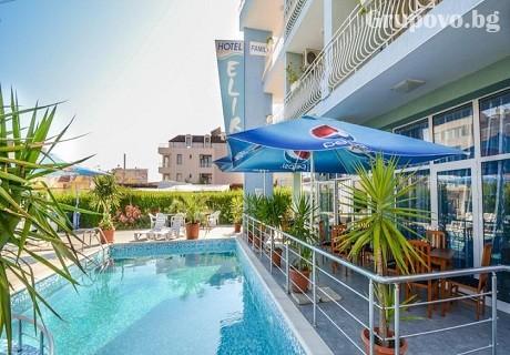 Нощувка със закуска + басейн само за 22.50 лв. в хотел Елири***, Несебър