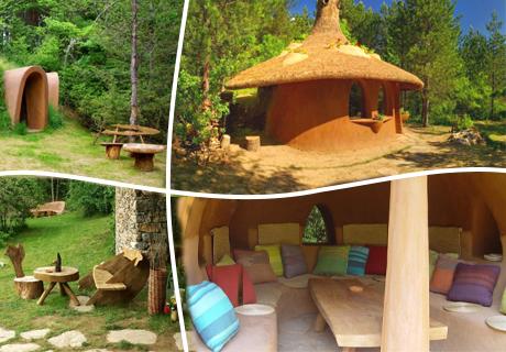 Нощувка със закуска за ДВАМА в къщичка направена от камък, глина и дърво от Еко селище, Омая